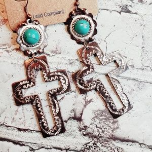 Faux turquoise white wash patina cross earrings